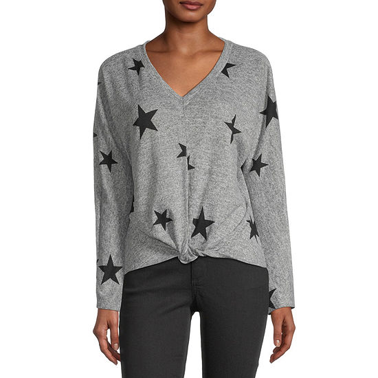 by&by-Juniors Womens V Neck Long Sleeve Star Pullover Sweater