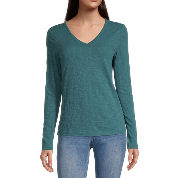 a.n.a Womens V Neck Long Sleeve T-Shirt