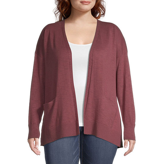 a.n.a-Plus Womens Long Sleeve Open Front Cardigan