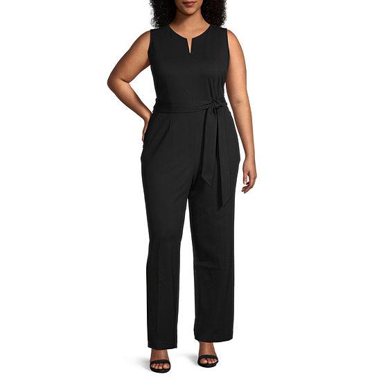 Liz Claiborne Womens Sleeveless Belted Jumpsuit - Plus