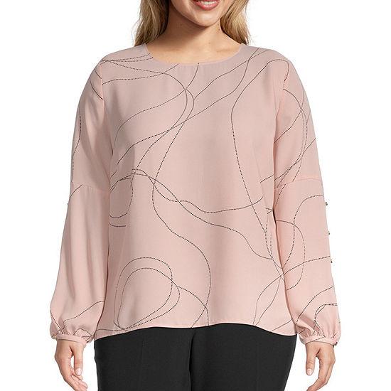 Liz Claiborne Womens Button Long Sleeve Top - Plus