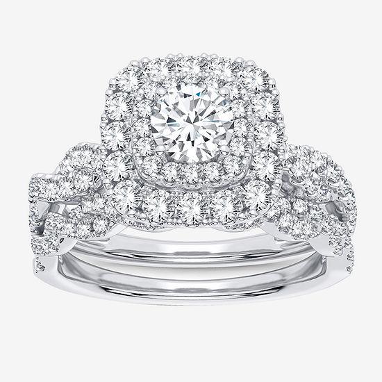 Modern Bride Signature Womens 1 CT. T.W. White Diamond 10K White Gold Bridal Set