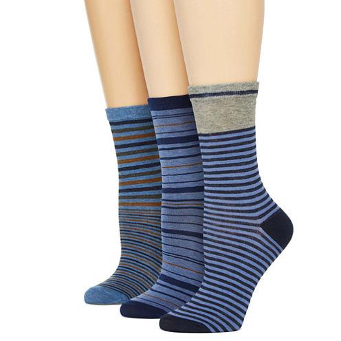 Mixit™ Womens 3-pk. Striped Crew Socks
