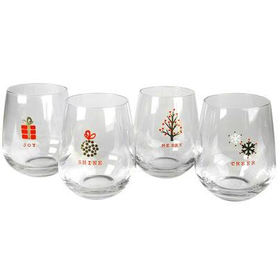 Artland Season's Tidings Set of 4 Stemless Glasses