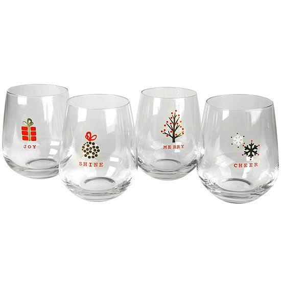 Artland Season's Tidings Set of 4 Stemless Glasses