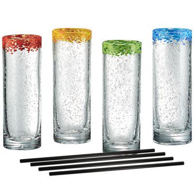 Artland Mingle Cooler Set of 4 Glasses with Reusable Straws