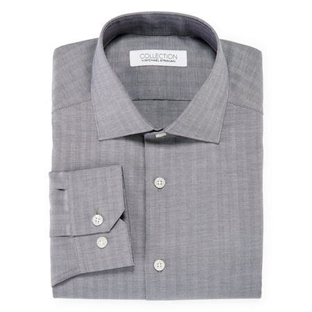 Collection by Michael Strahan Mens Spread Collar Long Sleeve Wrinkle Free Stretch Dress Shirt, 18 34-35, Gray