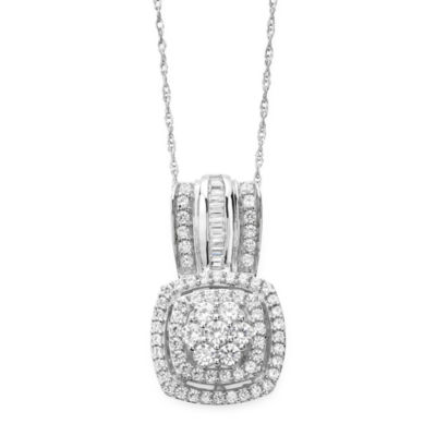 Diamond Blossom Womens 3/4 CT. T.W. Genuine White Diamond 10K Gold Pendant Necklace
