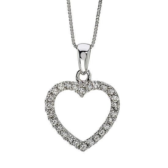Womens 1/4 CT. T.W. Genuine White Diamond 14K Gold Heart Pendant Necklace