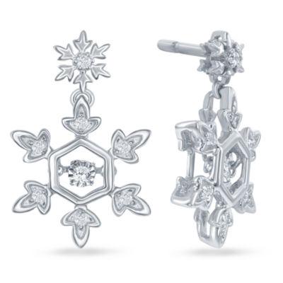"""Enchanted Disney Fine Jewelry 1/10 C.T. T.W. Diamond Sterling Silver """"Frozen"""" Snowflake Drop Earrings"""