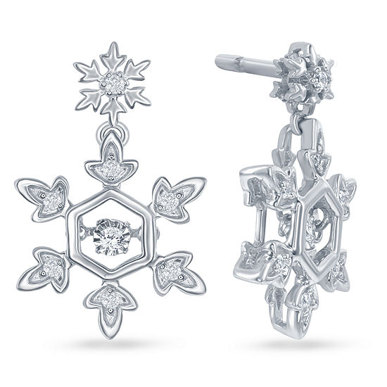 "Enchanted Disney Fine Jewelry 1/10 C.T. T.W. Diamond Sterling Silver ""Frozen"" Snowflake Drop Earrings"