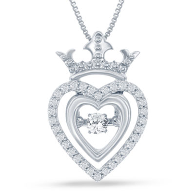 "Enchanted Disney Fine Jewelry 1/5 C.T. T.W. Silver Heart ""Disney Princess"" Crown Pendant Necklace"