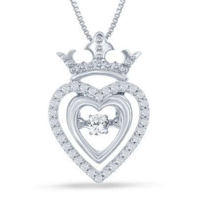 "Enchanted Disney Fine Jewelry 1/5 C.T. T.W. Genuine Diamond Silver Heart ""Disney Princess"" Crown Pendant Necklace"