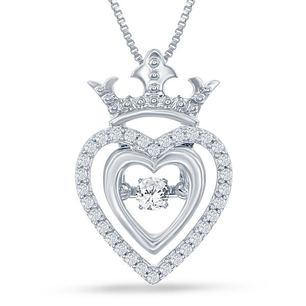 Enchanted disney fine jewelry 15 ct tw silver heart disney enchanted disney fine jewelry 15 ct tw silver heart disney princess crown pendant aloadofball Gallery