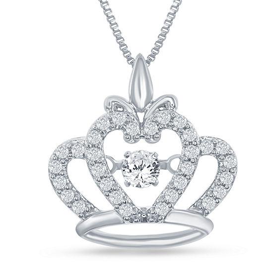 "Enchanted Disney Fine Jewelry 1/4 C.T. T.W. Genuine Diamond Sterling Silver ""Disney Princess"" Crown Pendant Necklace"