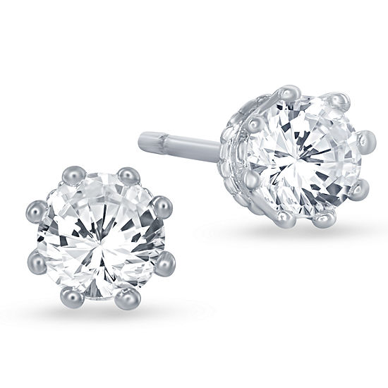 """Enchanted Disney Fine Jewelry 5/8 C.T. T.W. 10K White Gold """"Disney Princess"""" Crown Stud Earrings"""