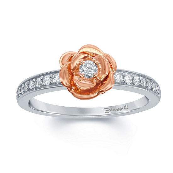 "Enchanted Disney Fine Jewelry 1/5 C.T. T.W. Genuine Diamond 10K White & 10K Rose Gold over Silver ""Belle"" Rose Ring"