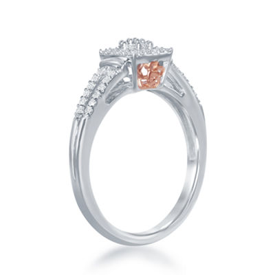 "Enchanted Disney Fine Jewelry 1/4 C.T. T.W. Diamond 10K White & Rose Gold ""Belle"" Rose Ring"