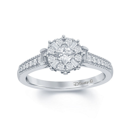 "Enchanted Disney Fine Jewelry 1/2 C.T. T.W. Diamond 10K White Gold ""Frozen"" Snowflake Ring"