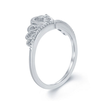 "Enchanted Disney Fine Jewelry Diamond Accent Sterling Silver ""Disney Princess"" Crown with Heart Ring"