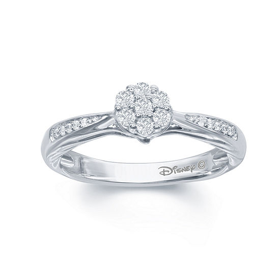 "Enchanted Disney Fine Jewelry 1/5 C.T. T.W. Genuine Diamond 10K White Gold ""Disney Princess"" Gown Ring"