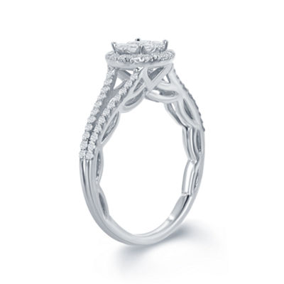 "Enchanted Disney Fine Jewelry 5/8 C.T. T.W. Diamond 14K White Gold ""Disney Princess"" Ruffle Gown Ring"