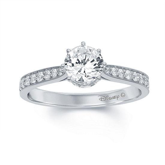 "Enchanted Disney Fine Jewelry 1 C.T. T.W. Diamond 14K White Gold ""Disney Princess"" Tiara Ring"