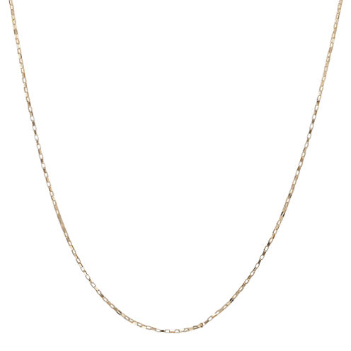 "10K Yellow Gold Elongated 20"" Box Chain Necklace"