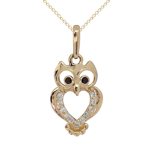 Girls Black Cubic Zirconia 14K Gold Pendant Necklace