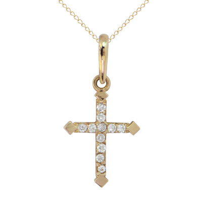Womens Lab Created White Cubic Zirconia 14K Gold Cross Pendant Necklace