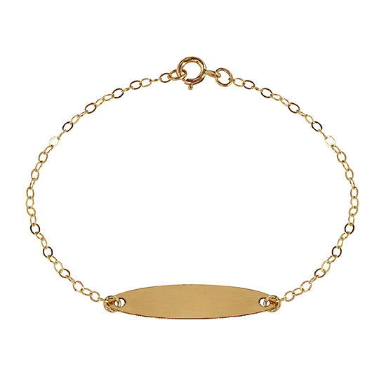 14K Gold 5 1/2 Inch Cable Id Bracelet