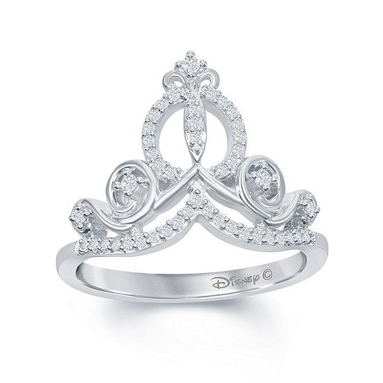 "Enchanted Disney Fine Jewelry 1/6 C.T. T.W. Genuine Diamond Sterling Silver ""Cinderella"" Ring"