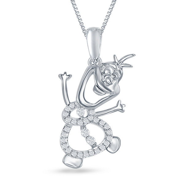 "Enchanted Disney Fine Jewelry 1/10 C.T. T.W. Diamond ""Olaf"" Pendant Necklace In Sterling Silver"