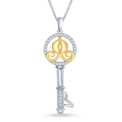 "Enchanted Disney Fine Jewelry 1/10 C.T. T.W. Diamond 14K Gold over Silver ""Cinderella"" Key Pendant Necklace"