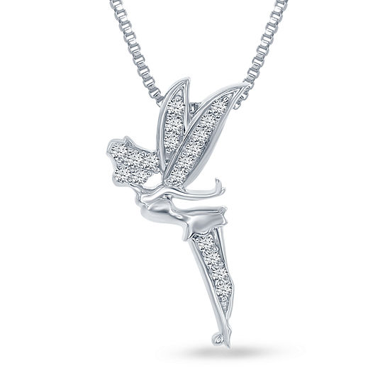 "Enchanted Disney Fine Jewelry 1/10 C.T. T.W. Genuine Diamond ""Tinker Bell"" Pendant Necklace In Sterling Silver"