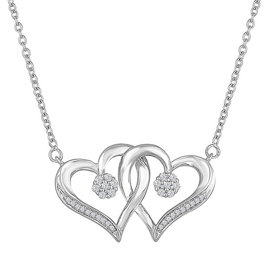 Diamond Blossom 1/10 CT. T.W. Sterling Silver Heart Pendant Necklace