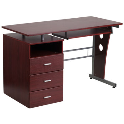 Desk with Three Drawer Pedestal and Pull-Out Keyboard Tray