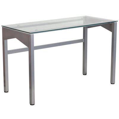 Contemporary Desk with Tempered Glass Top