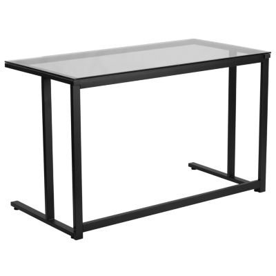 Glass Desk with Pedestal Metal Frame