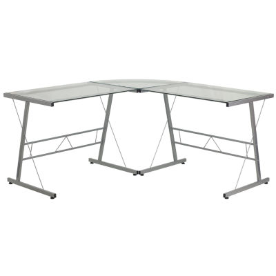 Glass L-Shape Desk