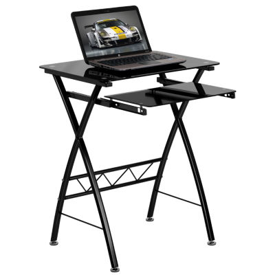Tempered Glass Computer Desk with Pull-Out Keyboard Tray