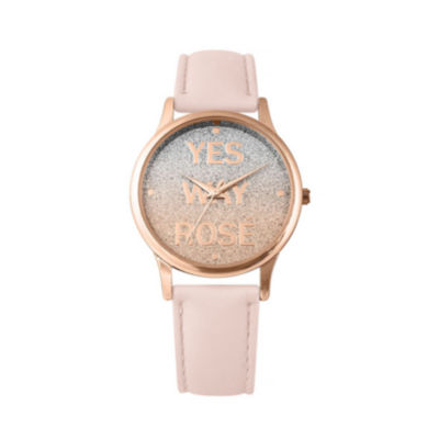 Mixit Glitter Dial Womens Pink Strap Watch-Pts2726rgpk