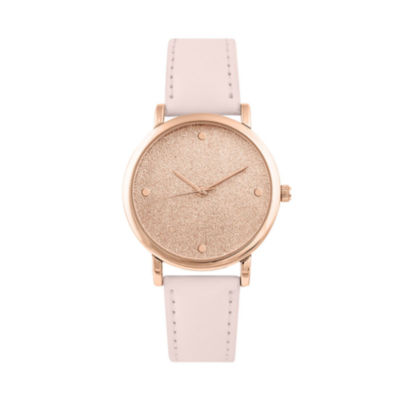 Mixit Glitter Dial Womens Pink Strap Watch-Pts2325rglp