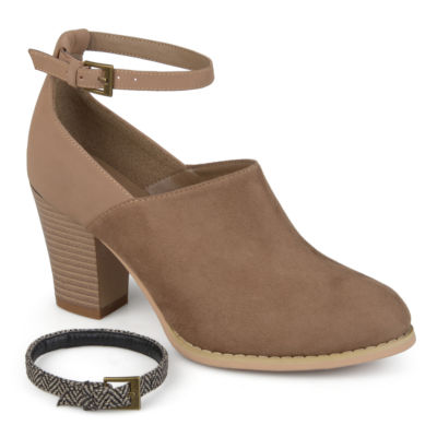 Journee Collection Womens Royal Bootie Stacked Heel Buckle