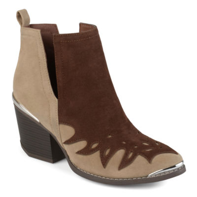 Journee Collection Womens Dotson Booties Stacked Heel Pull-on