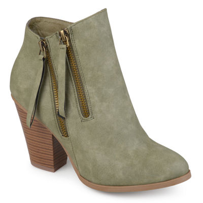 Journee Collection Womens Vally Booties Stacked Heel Zip
