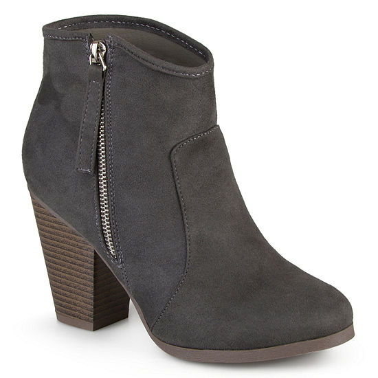 Journee Collection Womens Link-Wd Booties Stacked Heel Wide Width