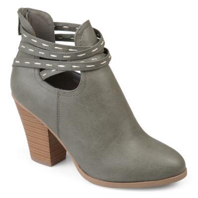 Journee Collection Womens Rhapsy Booties Stacked Heel Zip