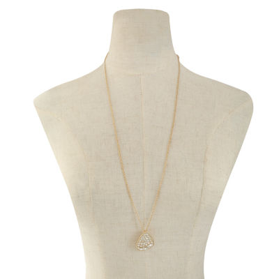 Liz Claiborne Womens Clear Pendant Necklace