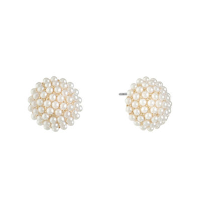 Monet Jewelry White Simulated Pearl 16mm Stud Earrings